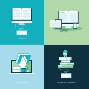 Flat design concept icons for online book